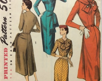 Simplicity 1767 vintage 1950's misses dress w/self tie sewing pattern size 14  bust 34