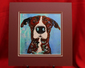 Blue Dog Art. Matted Brown Great Dane Print. Brindle Great Dane Photo Dog Print, White Brown Dog Print from acrylic painting
