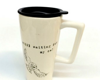 Harry Potter Owl and Sorting Hat Handled ceramic travel mug Hedwig Hogwart's School of Wizardry