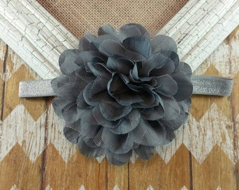 Grey flower headband, grey headband, Big grey flower headband, flower headband, Big flower headband, children's headband