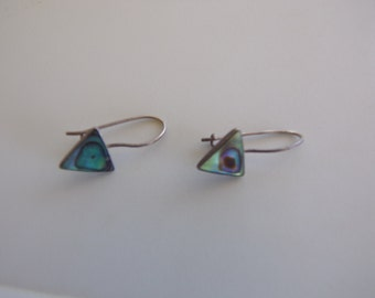 """Vintage Authentic,""""ABALONE EARRINGS""""TRIANGLE Dainty.Long Sterling Silver Wires Slightly Hang Down 70 Era.Abstract Art Of Abalone Art To Wear"""