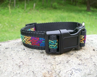 Celtic Endless Knot Dog Collar, celtic ribbon collar, nylon webbing, longevity and luck
