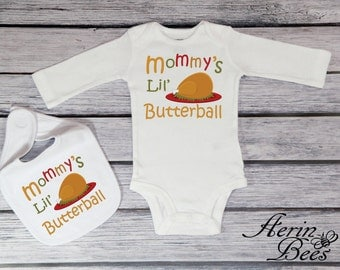 Thanksgiving Turkey - Mommy's Lil Butterball - Babys Thanksgiving Bodysuit - First Thanksgiving - 1st Thanksgiving Creeper - *TG1407S