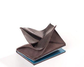 brown wallet - brown leather wallet - mens front pocket wallet - credit card holder wallet - mens credit card wallet - WALLABE