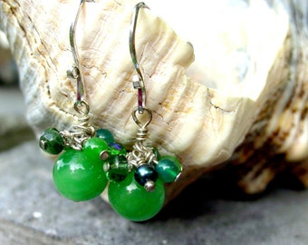 Green Czech Bead, Freshwater Pearl and Glass Bead Earrings
