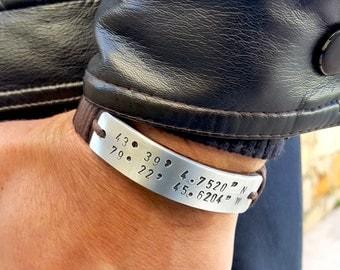 Coordonnées sur mesure pour homme en cuir Bracelet homme en cuir GPS Latitude Longitude personnalisé cuir manchette homme Bracelet BFF Mens cadeau bijoux