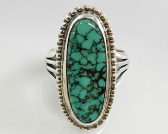 turquoise mens ring/southwestern silver mens ring/spiderweb turquoise ring/mens ring size 9/handmade mens silver green turquoise ring