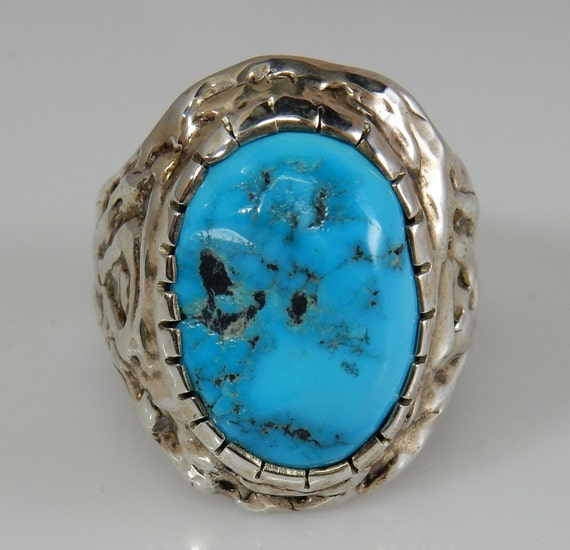 Turquoise Ring Mens Silver
