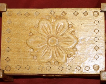 Vintage Hand Carved Ornate Wood Box