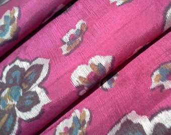 Meisen silk kimono fabric bright magenta floral- by the yard