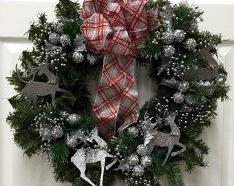 Silver Reindeer Christmas Wreath