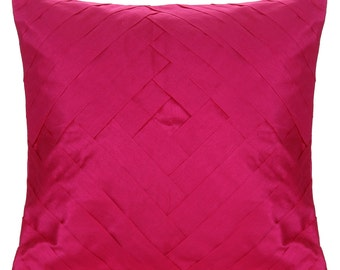 Solid Fuchsia Pink Pillow Cover Pleated Throw Pillow Solid Fuchsia Pink Euro Sham 14x14 16x16 18x18 20x20 22x22 24x24 26x26