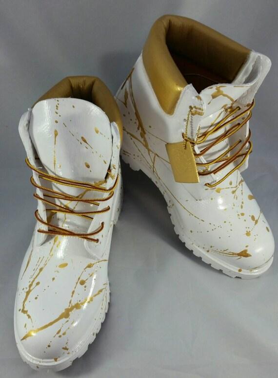 all white timberlands with gold wwwpixsharkcom