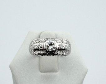 Dazzling Diamonds In A Vintage 14K White Gold Engagement Ring #DD14KWR-GR1