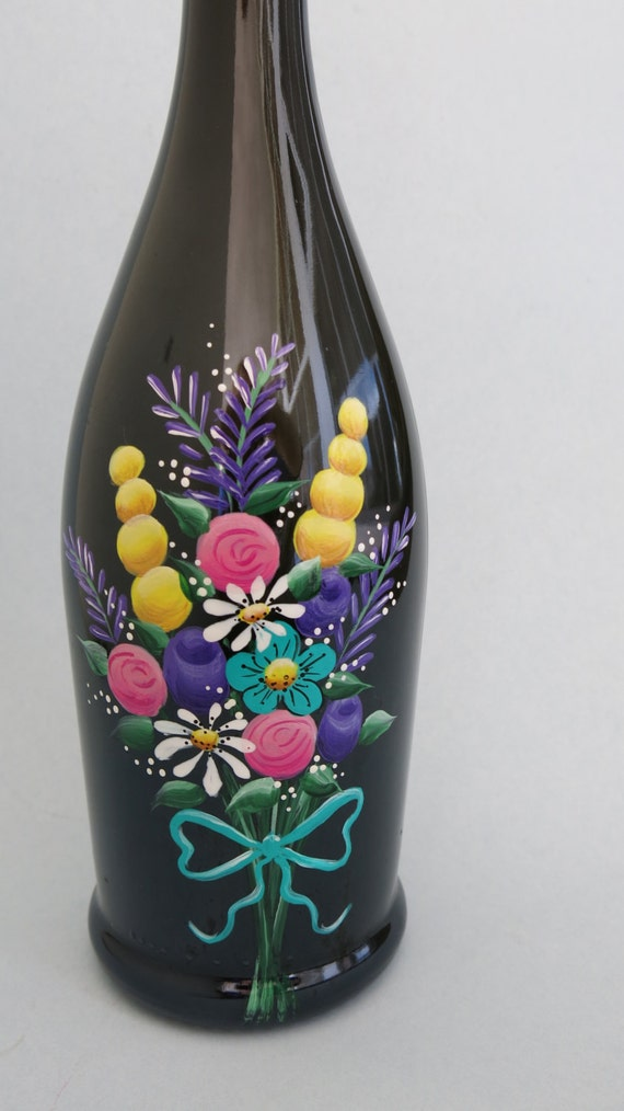 Painted Wine Bottle Flowers Wine Bottle Lighted Wine Bottle