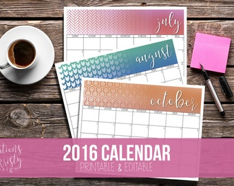 2016 Monthly Calendar, Printable & Editable, Instant Download