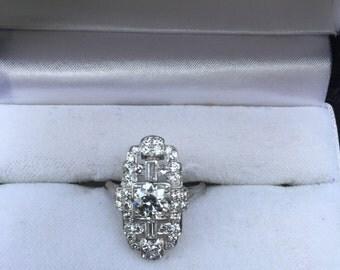 1930's Art Deco Platinum Diamond Ring SZ 5.5