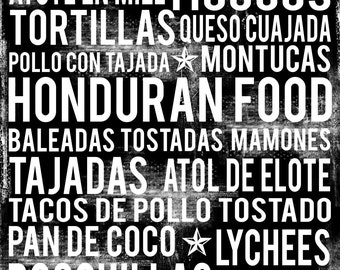 Honduras Food Poster - Honduran Food Poster - Honduras Poster - Various Sizes & Colors