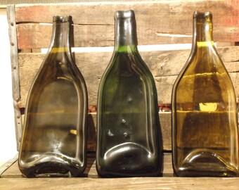 Vintage Melted Glass Bottles (Set of 3), circa 1960's