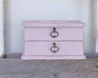 Shabby Chic hydrangea pink heart jewelry box