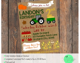 Fall Themed Birthday Invitation (Apple Orchard, Pumpkin Patch) - Digital File - We Customize, You Print!