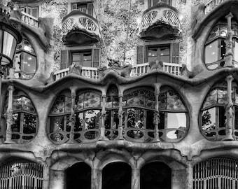 Barcelona Photograph, Windows Print, Black and White Photo, Gaudi Print Wall Art, Casa Batllo Picture, Spain Home Decor, Architecture BW