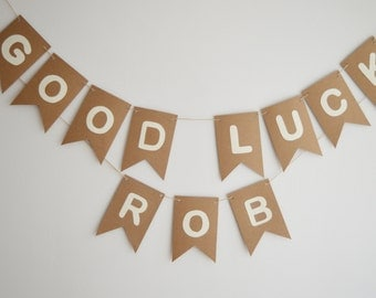Good Luck Banner, Personalised Name Bunting, Custom Banner, Bon Voyage, Farewell, Rustic Party Decoration