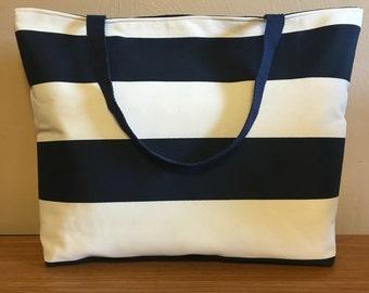 Large Nautical Striped Beach Bag, Large Tote, Summer Bag