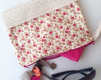 Floral Purse, Floral Clutch Bag, Hand Bag, Pochette, Clutch Zip Pouch, Clutch Bag, Large Zip Pouch, valentine's day gift, Gift for her