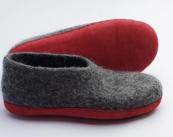 Felt clogs- felt slippers-wool clogs-felt wedges- wool loafers-natural wool slippers- dark grey slippers- felted slippers- eco slippers
