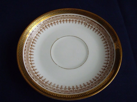 3 crown Chelsea saucers, bone china greek key saucer, replacement china, spare china, black and gold
