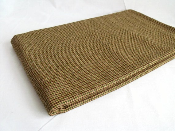 "unused remnant wool blend houndstooth fabric, brown tweed fabric, 56"" x 61"""