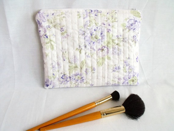 pencil case, quilted bag, zipped pouch, cosmetic bag, project bag, craft tool holder, lilac roses cotton fabric