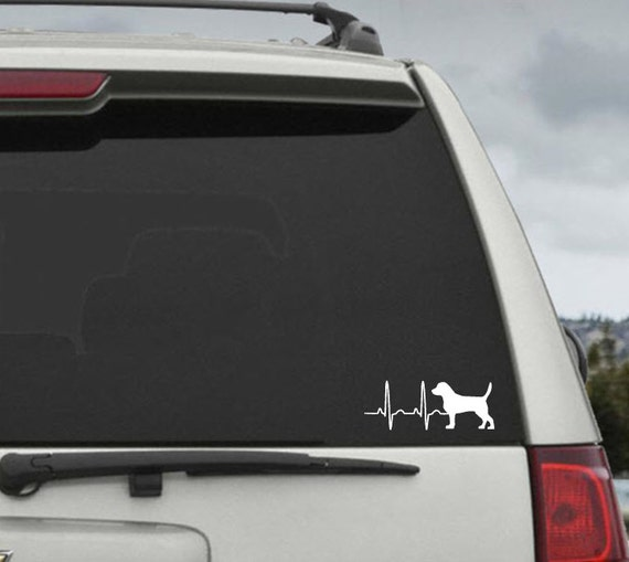 Beagle Heartbeat EKG  - Car Window Decal Sticker