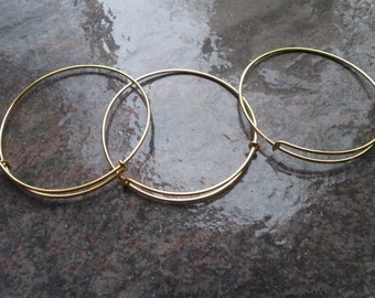 SALE Antique Gold Adjustable Bangle Bracelet Blanks Set of 6 expandable bangle bracelets popular style