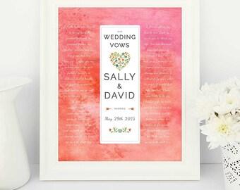 Wedding Vows Print, Wedding Vows, Wedding Vows printable, Bride & Groom, Watercolour art, 1st anniversary gift, 1st year wedding anniversary