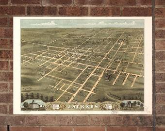 Jackson TN  Vintage Print Poster  1870