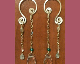 Gorgeous Handcrafted Cherry Quartz, Aquamarine and Apatite Earrings on Sterling Silver