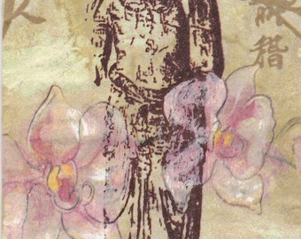 Set of2(two)napkins Quan Yin Cream 42x33/6 same images per napkin/for decoupage,put them on mugs,plates,canvas,the possibilities are endless