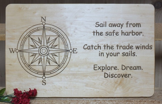 Sail Away engraved cutting board or serving board. Great nautical themed cutting board, wonderful gift for any boat lover or adventurer!