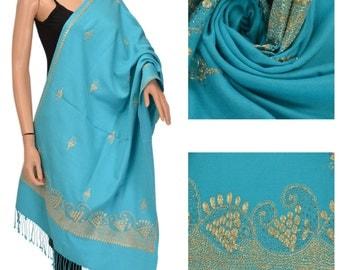 KK New Hand Beaded Pure Wool Shawl Scarf Stole Warm Floral Fringes Zari