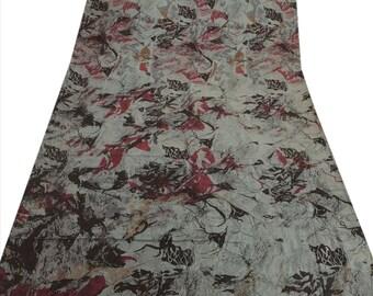 KK Pure Silk Saree Grey Printed Sari Home Decor Craft Fabric