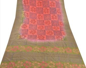 KK Pure Crepe Silk Saree Peach Printed Sari Craft Fabric