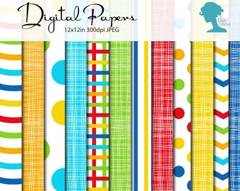 Bright Patterns Digital Scrapbooking Paper Pack in Blue, Red & Yellow, Buy 2 Get 1 FREE. Instant Download