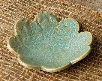 Heart Ring Dish with Flower Motif / Trinket Dish- Handmade Pottery