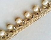 Gold Trim, Pearl and kundan work payal border, payal lace Trim, Saree border, Dress border lace, dress decor, Home decor,chunni trim