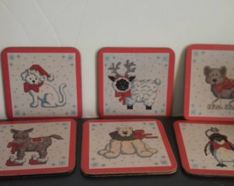 Vintage Pimpernel Christmas Cross Stitch Coasters Set of 6