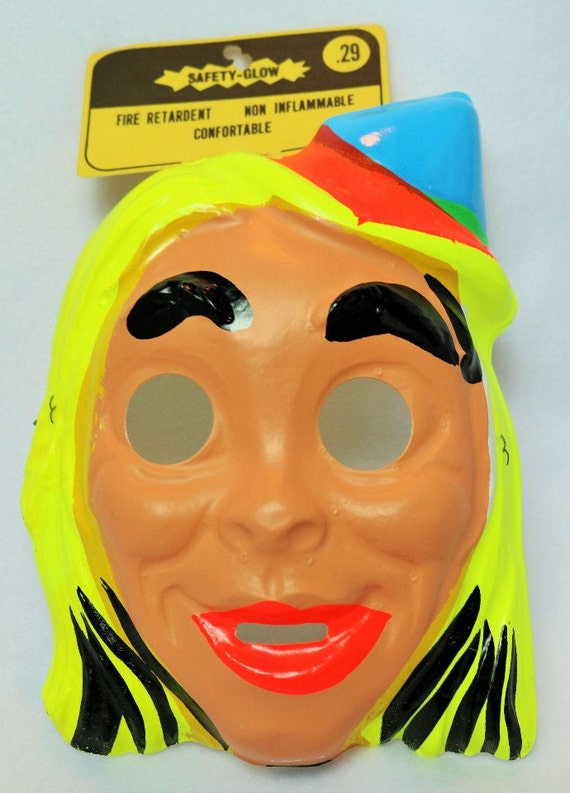 Vintage Church Lady Halloween Mask Derby Hat Blond Woman 1960s