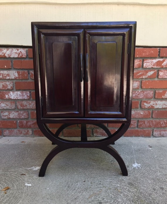 Asian Style Lacquered Cabinet, Dark Brown