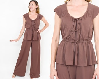 70s Brown Jumpsuit | Boho Peasant Wide Leg Sleeveless  | The New Jumpsuit | Small